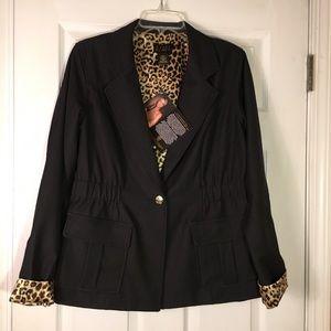 NWT IMAN Black Jacket With Leopard Inside Print